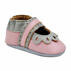 Soft Sole Leather Crib Bootie Baby Shoes - Blush