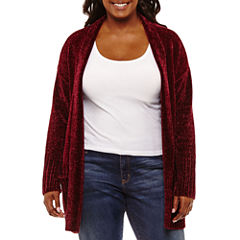 Arizona Long Sleeve Chenille Cardigan-Juniors Plus