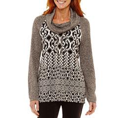 Lark Lane Salt And Pepper Long Sleeve Cowl Neck Geometric Pullover Sweater