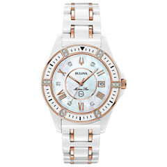 Bulova Womens White Strap Watch-98p172