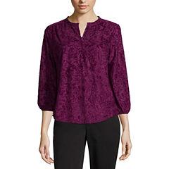 Liz Claiborne Midnight Garden Collection 3/4 Sleeve V Neck T-Shirt-Womens