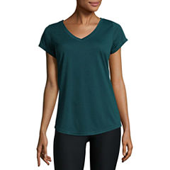 Xersion Short Sleeve V Neck T-Shirt-Womens