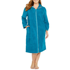 Adonna Long Sleeve Zip Front Plush Robe - Plus