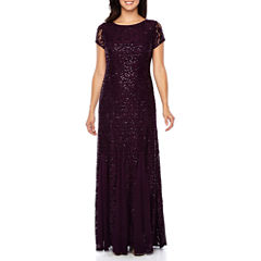 Onyx Nites Short Sleeve Evening Gown