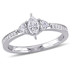 Womens 5/8 CT. T.W. Genuine Marquise White Diamond 14K Gold Engagement Ring
