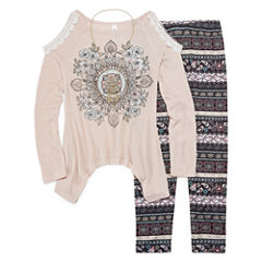 Knit Works Cold Shoulder Long Sleeve Fashion Top Legging Set with Necklace- Girls' 7-16 & Plus