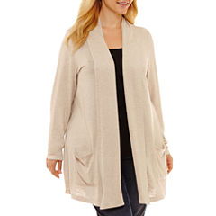St. John's Bay Long Sleeve Cardigan-Plus
