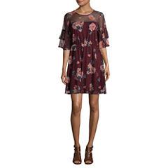 Luxology Short Sleeve Floral Fit & Flare Dress