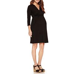Planet Motherhood 3/4 Sleeve Empire Waist Dress-Maternity