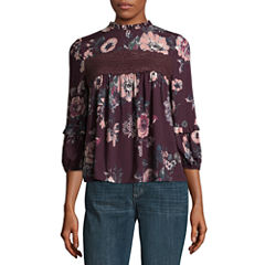 Eyeshadow 3/4 Sleeve Scoop Neck Woven Floral Blouse-Juniors
