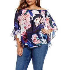 Fashion To Figure Audrea Off Shoulder Floral Print Blouse - Plus