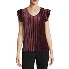 Worthington Short Sleeve V Neck Velvet T-Shirt-Petites