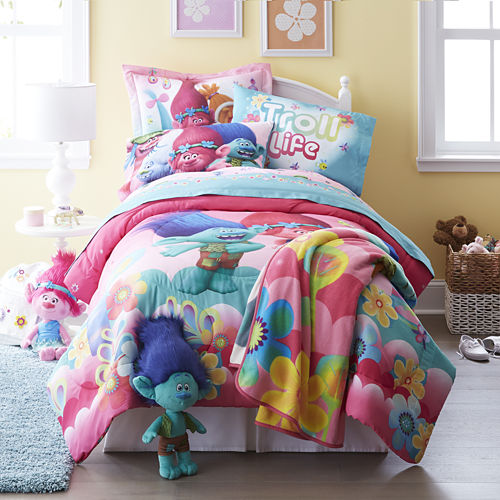 Trolls Reversible Twin/Full Comforter   BONUS Sham