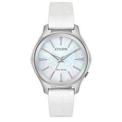 Citizen Womens White Strap Watch-Em0598-01d