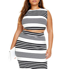 Fashion To Figure Carina Striped Sleeveless Crop Top - Plus