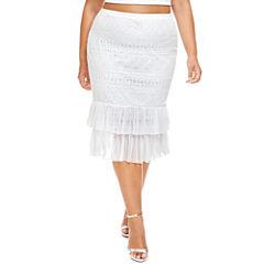 Fashion To Figure Sahara Double Ruffle Pencil Skirt - Plus