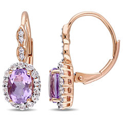 Diamond Accent Purple Amethyst 14K Gold Drop Earrings