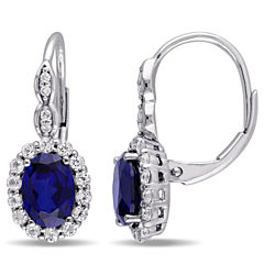 Diamond Accent Blue Sapphire 14K Gold Drop Earrings