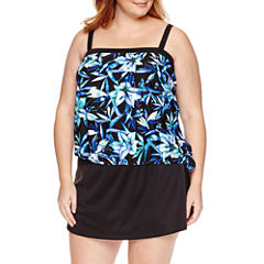 Azul by Maxine of Hollywood Lily Pop Bandeau Blouson Tankini or Skirted Bottom - Plus