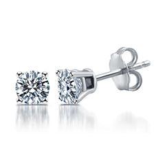 Deluxe 1 CT. T.W. Round White Diamond 14K Gold Stud Earrings