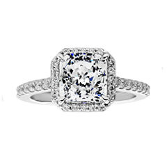 100 Facets by DiamonArt® Square Cubic Zirconia Framed Ring