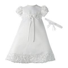 Keepsake® Christening Dress and Headband Set - Girls newborn-12m