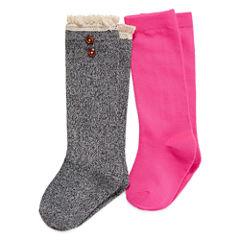 Total Girl Black Marled Boot Sock 2Pk