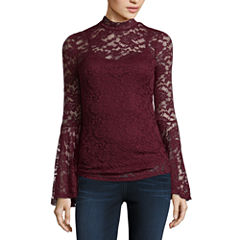 Almost Famous Long Sleeve Mock Neck Lace Blouse-Juniors