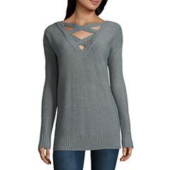 Arizona Criss Cross Tunic Sweater-Juniors
