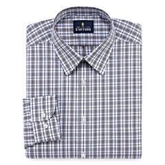 Stafford Travel Performance Super Shirt Long Sleeve Woven Plaid Dress Shirt