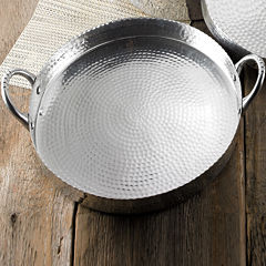St. Croix Trading Round Hammered Scalloped Tray with Handles