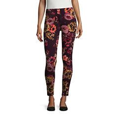 Mixit Burgundy Floral Print Knit Legging -Petite