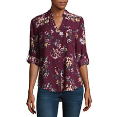 by&by 3/4 Sleeve Floral Button-Front Shirt-Juniors