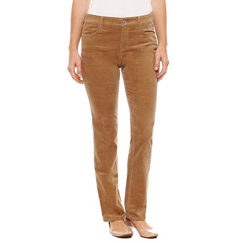 St. John's Bay Secretly Slender Straight Leg Corduroy Pants