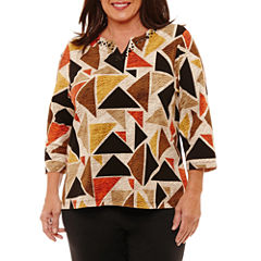 Alfred Dunner Jungle Habitat 3/4 Sleeve Geometric T-Shirt-Womens Plus