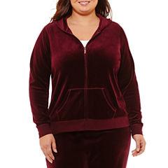 St. John's Bay Active Long Sleeve Velour Jacket-Plus
