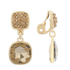 Monet Jewelry Brown  Goldtone Double Drop Clip Earring