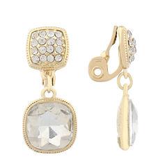 Monet Jewelry Clear Goldtone Double Drop Clip Earring