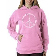 Los Angeles Pop Art Women's Hooded Sweatshirt -Different Faiths peace sign - Plus
