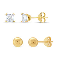 Diamonart 2 Pair 3/4 CT. T.W. White Cubic Zirconia 18K Gold Over Silver Earring Sets