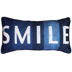 Thro by Marlo Lorenz Smile Printed Sign Faux LinenThrow Pillow