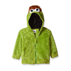 Sesame Street Toddler Girls Oscar Costume Hoodie with Faux Fur and 3D Face