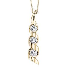 Sirena® 1/2 CT. T.W. Diamond 14K Yellow Gold 3-Stone Pendant Necklace
