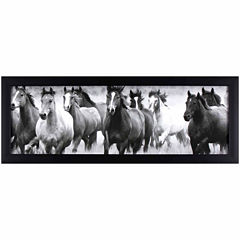 Decor Therapy Running with the Horses in Black Frame