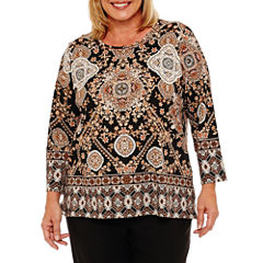 Alfred Dunner Jungle Habitat 3/4 Sleeve Medallion Border T-Shirt-Womens Plus