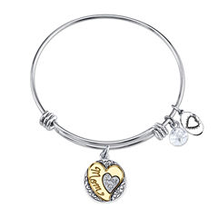 Footnotes Womens Silver Over Brass Bangle Bracelet