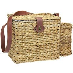 Household Essentials® Banana Leaf Picnic Basket & Wine Caddy - Service for 2