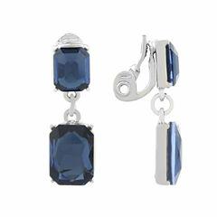 Monet Jewelry Blue Silvertone Double Drop Clip Earring