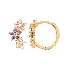 Multi Color Cubic Zirconia 14K Gold Over Silver Hoop Earrings