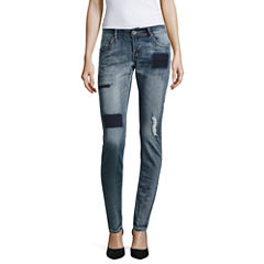 Almost Famous Patched Boyfriend Skinny Jeans-Juniors